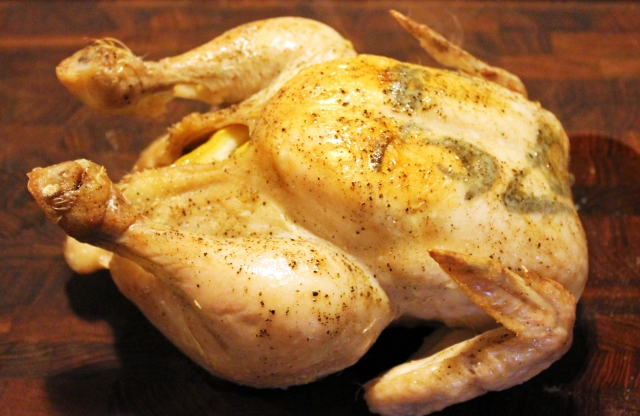 Kylling i stegeso, færdig til udskæring, januar 2013